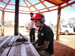 Desmond Woodforde producing the Outside Broadcast on an iPad at Mutitjulu