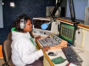 Jamie Lee broadcasting from Mimili